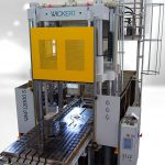 Die WKP 12000S zur Fertigung von Composites mit der enormen Zykluszeit von bis zu 72 Stunden sowie der hohen Öffnungskraft von 4.000 kN und Ausstoßer mit 3.000 kN. (Foto: Wickert)