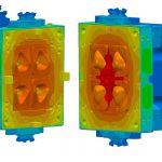 Die feste Werkzeugseite (links) und die bewegliche Seite (rechts) nach zehn Zyklen auf 180 °C eingeschwungen. (Abb.: Sigma)