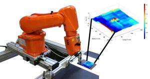 Automatisierte Wirbelstromprüfung eines Faserverbundkunststoffs mit innenliegender Delamination, die im Prüfergebnis farblich kodiert visualisiert werden konnte (Ausschnitt vergrößert). (Abb.: SKZ)