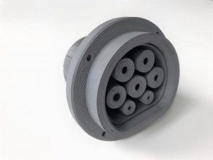 3D-gedruckter Stecker aus Luvocom 3F PAHT KK 50056 BK FR. (Foto: Lehmann&Voss&Co.)
