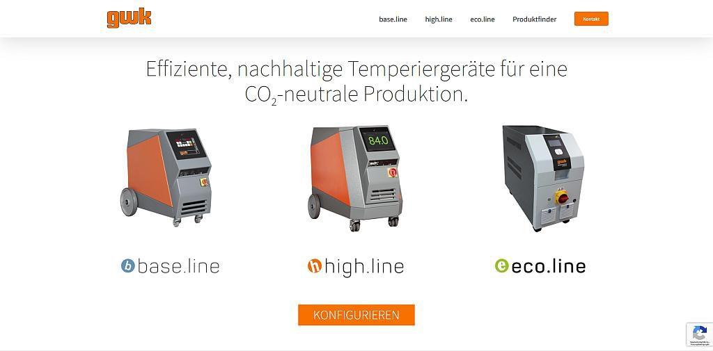 Die neue Landingpage bietet eine Vergleichbarkeit der Geräte und neuen Produktlinien. (Abb.: GWK)