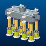 Modell eines Werkzeugs mit 16 Kavitäten und 8 TFS-Radial mit zwei Einspritzpunkten. (Abb.: Thermoplay)
