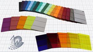 Farbauswahl PEEK (oben), PSU (Mitte links) und transparentes PEI (unten rechts). (Foto: AW)