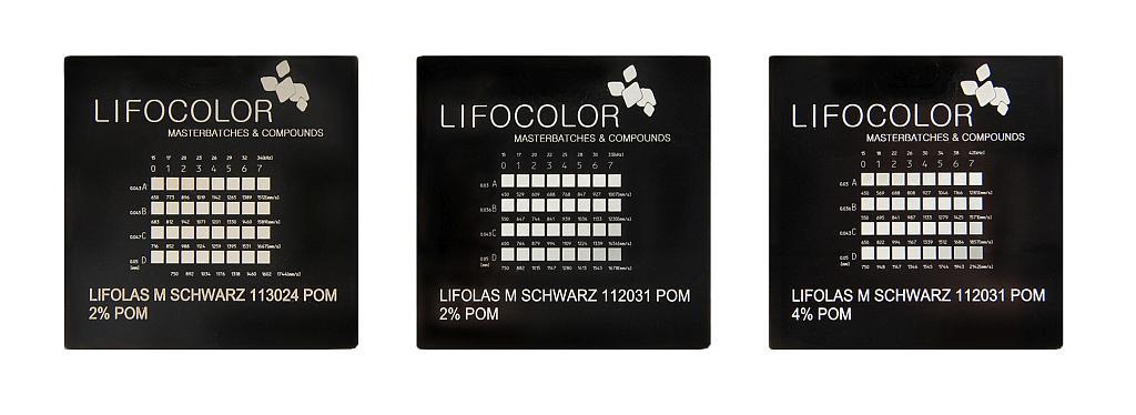Mit Lifolas M Schwarz 112031 POM (mittig und rechts) wird hohe Qualität für helle Markierungen auf dunklem oder tiefschwarzem POM erreicht. (Foto: Lifocolor)