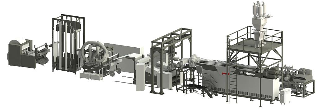 Tray-to-Tray-Folienrecyclinganlage mit MRSjump-Extruder. (Abb.: Gneuß)