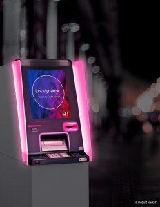 Die Premium-Variante der Geldautomaten der DN Series bieten beim Geldausgabe- und beim Kartenleseschlitz sowie bei den seitlichen Sichtschutzflächen Möglichkeiten zur Farbindividualisierung mittels Licht. (Foto: Diebold Nixdorf)