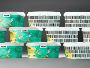 """Digitale Wasserzeichen: Für den Endverbraucher unsichtbar (links) sind Informationen als """"digitaler Pass"""" direkt auf dem Kunststoff oder zugehörigem Label hinterlegt (rechts visualisiert). (Abb.: Arburg)"""