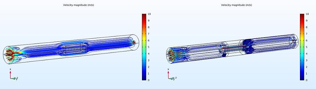 Geschwindigkeit-Streamlines im Reaktor und durch den Demonstrator. Die erste Variante (links) zeigt die Simulation ohne Prallblech, die zweite (rechts) mit Prallblech. (Abb.: KIMW)