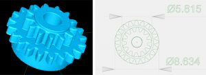 Zahnrad: li.: Punktewolke (STL-Datei); re.: Genaue Bemaßung (Abweichung ca. 3 µm). (Abb.: KUZ)