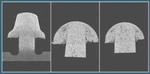 Nietverbindungen mit unterschiedlichen Nietkopfformen. Lunker im Nietkopf (li). Bindenähte im Kontaktbereich zwischen Nietkopf und Pin (Mitte und rechts). (Abb: KUZ)