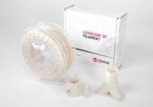 Zertifiziertes 3D-Druck-Filament: Luvocom 3F Filament PAHT 9825 NT und daraus 3D-gedruckte Bauteile. (Foto: Lehvoss)