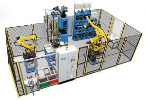Das Kapazitätspotenzial der LWB-Multistationen-Produktionszelle leitet sich aus der Trennung der Verfahrensprozesse Spritzgießen, Heizen, Entformen und Nachbearbeiten ab. (Foto: LWB-Steinl)