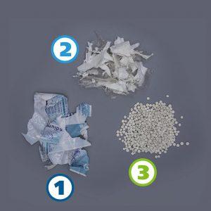 Stark bedruckte Folie vor dem Deinking-Prozess (1), Folie nach dem Deinking-Prozess (2) und Regranulat nach dem Extrusionsprozess (3). (Foto: Erema)