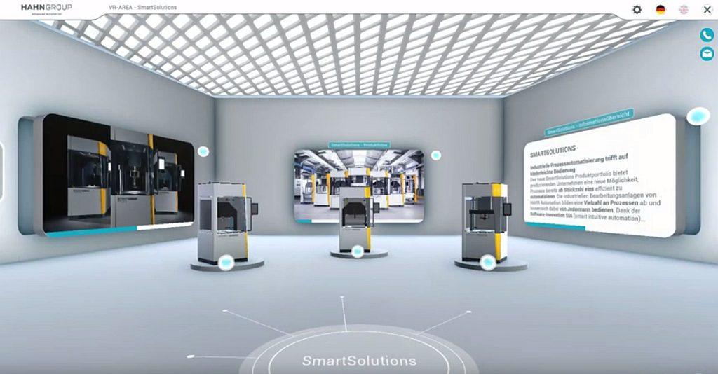 Der Showroom bietet animierte 3D-Modelle von Automatisierungsanlagen und Roboterlösungen. (Abb.: Hahn Group)