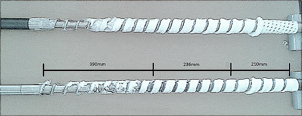 Praxisvergleich des Aufschmelzverhaltens zwischen der Maxi Melt-Schnecke (oben) und einer 3-Zonen-Standardschnecke. (Fotos: Maxi Melt)
