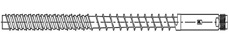 Das Hauptmerkmal der Maxi Melt-Extreme-Schnecke ist der 8- bis 10D lange Mischer mit um jeweils um 90° versetzten elliptischen Mischelementen. (Abb.: Maxi Melt)