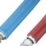 Der Thermoschutzschlauch besteht aus einer Kombination aus geflochtener Textilglasfaser und einer Silikonbeschichtung. (Foto: Hasco)