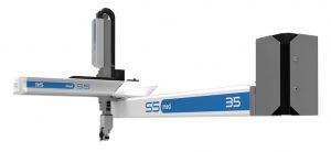 Die gekapselten Roboter der MED-Serie, wie dieser S5-35, sind für den Einsatz in Reinräumen und anderen sensiblen Umgebungen in medizinischen und pharmazeutischen Spritzgießbetrieben geeignet. (Foto: Sepro)