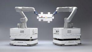 Mit seiner Kooperation mit Sesto Robotics aus Singapur vertreibt Baumüller europaweit die selbstfahrenden Roboter und übernimmt die Einbindung in bestehende Umgebungen. (Foto: Baumüller)