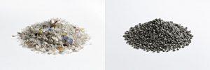 Gemische Kunststoffabfälle (l.) und reine, hochwertige Rezyklate (r.) für neue Kunststoffanwendungen. (Fotos: Fraunhofer LBF/Raapke)