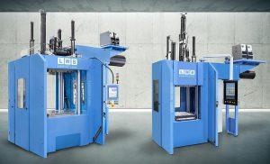 Die vertikalen LWB-Spritzgießmaschinen mit Holm-Schließeinheit sind im Schließkraftbereich von 1.600 bis 8.000 kN verfügbar. (Foto: LWB-Steinl)