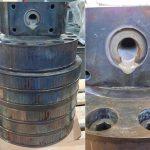 Unzerlegter Blaskopf mit Polyolefinresten vor der thermischen Reinigung in einer vollautomatischen Vakuumpyrolyse-Anlage. (Foto: Schwing Technologies)