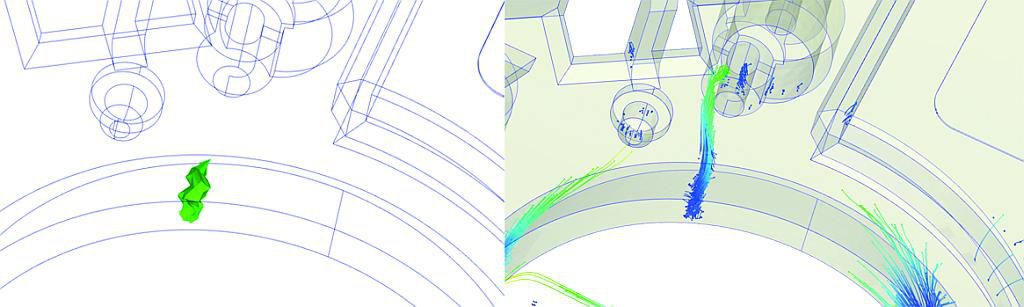 Bindenähte und Tracer Partikel helfen bei der Analyse mittels Moldex3D Viewer Advanced. (Abb.: Simpatec)