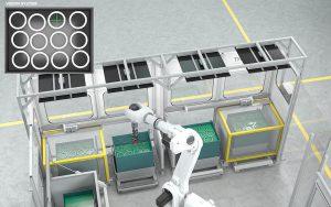 Mithilfe von Kameras und einem Bildverarbeitungssystem erkennt der Multifunktionsgreifer sowohl den Innendurchmesser als auch die Position von Bauteilen. (Foto: Wickert)