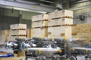 Die Lieferung mit einem Gesamtgewicht von 300 t wird in 83 Collies verpackt. (Foto: Witte)