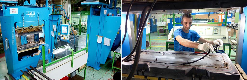 Die vertikalen Gummi-Spritzgießmaschinen mit Rahmen-Schließeinheit bieten gute Zugänglichkeit zum Spritzgießwerkzeug und damit zur manuellen Entformung von komplexen Gummi-Dichtungen. (Fotos: Bauer)
