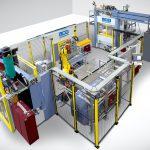 Produktionszelle zur vollautomatischen Spritzgießmontage, Nachbearbeitung und Qualitätsprüfung von großformatigen Zylinderkopfdichtungen für Lkw-Motoren. (Foto: LWB)