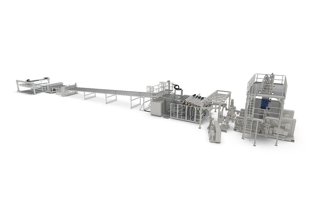 Komplette Extrusionslinie für die Produktion von HIPS Platten. (Foto: battenfeld-cincinnati)