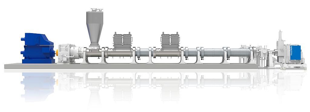 Einschneckenextruder-Technologie zum effektiven Entfernen von Lösemitteln aus der Schmelze. (Foto: KraussMaffei)