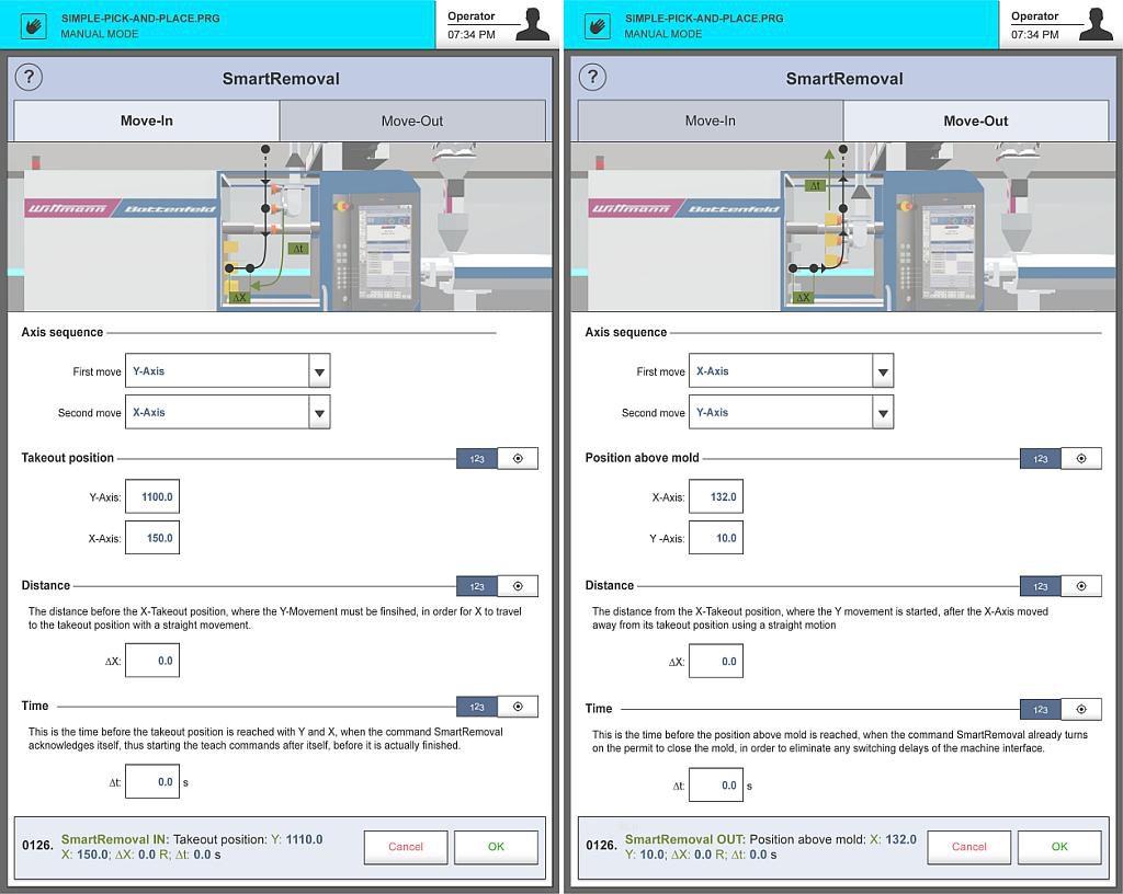 Eingabefenster für SmartRemoval Move In (links) und SmartRemoval Move Out (rechts) auf der Steuerung R9. (Abb.: Wittmann)