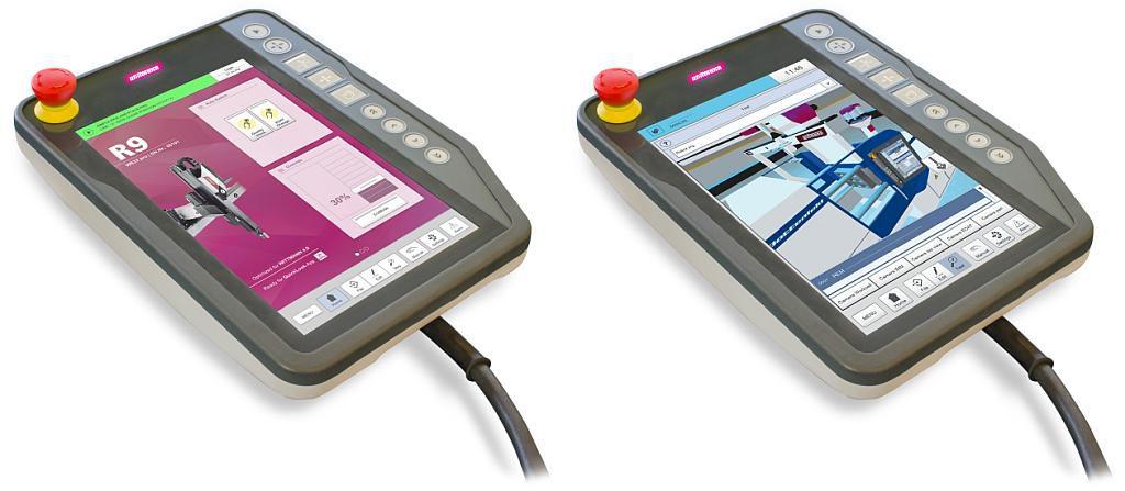 Die Robotsteuerung R9, links mit der Anzeige des Startbildschirms, rechts mit der Anzeige einer mit der R9 verbundenen Arbeitszelle. (Fotos: Wittmann)