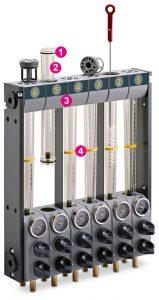 1: O-Ring aus EPDM – 2: PA 12 für den Einsatz bei Heißwasser bis 100 °C – 3: Unteres und oberes Gehäuse aus GF-verstärktem PPO – 4: Stellringe zum Anzeigen der Durchflussmenge. (Foto: Wittmann)