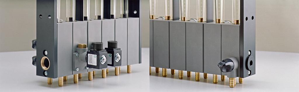 Abschaltmagnetventile (Bild links) und optionales Ausblasventil. (Foto: Wittmann)