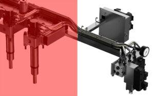 Der neue Mechanical Stroke Regulator bietet eine einfach handhabbare Möglichkeit, den Schmelzefluss an unterschiedlichen Anspritzpunkten einzustellen und auszubalancieren. (Abb.: Oerlikon HRSflow)