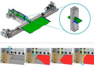 Oben: mit dem Feedblock-Einsatz (eingekreist) erreichte Einkapselung (obere Hälften der Düse und des Feedblocks wurden entfernt). Unten: neue EDI-EPC-Düse, bei der das Einkapselungspolymer in die Düse statt in den Feedblock eingebracht wird. (Abb.: Nordson)