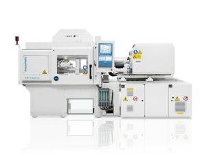 Mikrospritzgießen mit hoher Präzision mit Flüssigsilikon: Die PX 25 CleanForm zur Herstellung von Mikromembranen für Impfdosen in der Medizintechnik. (Foto: KraussMaffei)