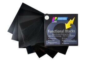 Farbfächer Functional Blacks - nichtleitende Schwarzfarbtöne für die Folienhinterspritztechnik. (Foto: Pröll)