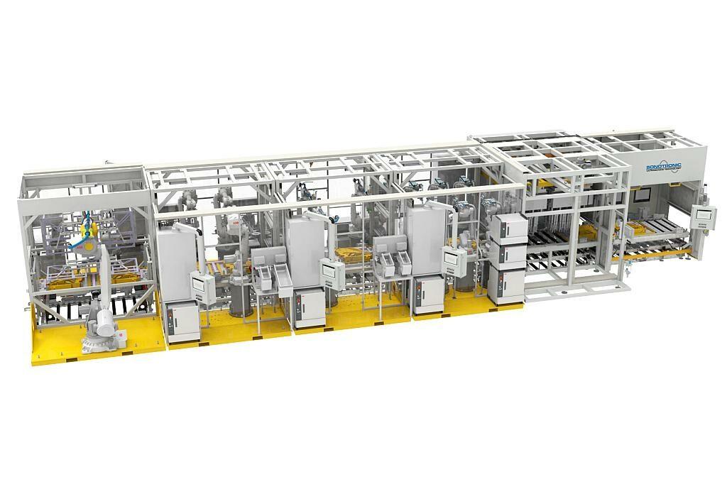 Automatisierte Produktionslinien für Türverkleidungen mit modularem Aufbau und automatischem Transport der Bauteile. (Foto: Sonotronic)
